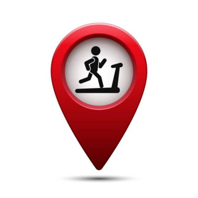Map pin for gym location. Vector isolated illustration.